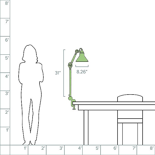 Lampe Gras N°201 Clamp Table Lamp
