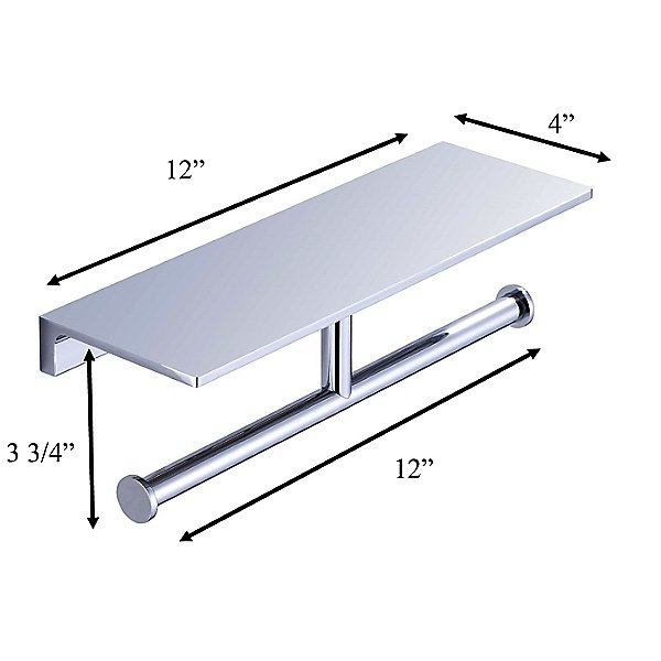 Simplicity Toilet Paper Holder with Shelf