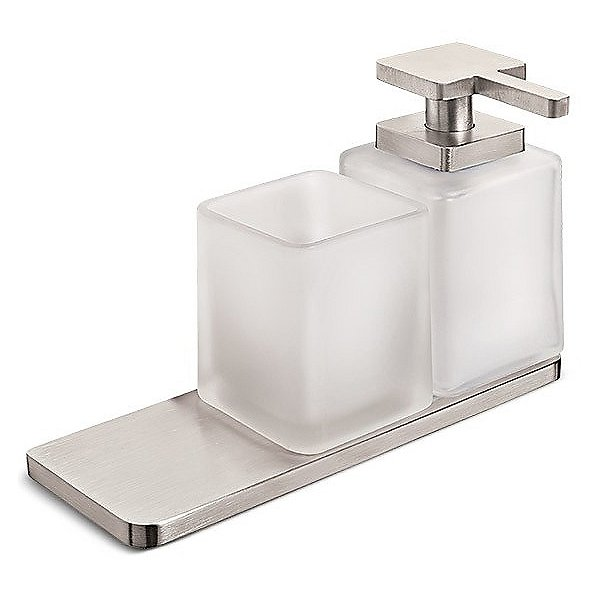 Harmoni Wall Mounted Holder with Soap Dispenser and Tumbler with Shelf