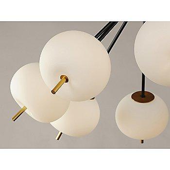 Black and Gold finish / 6 Light / Detail view / illuminated