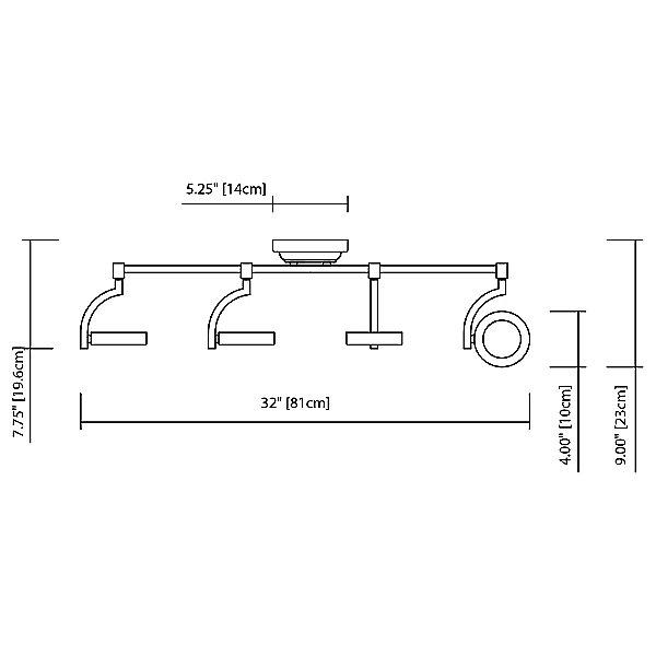 Andlos LED 4-Light Fixed Linear Rail Kit