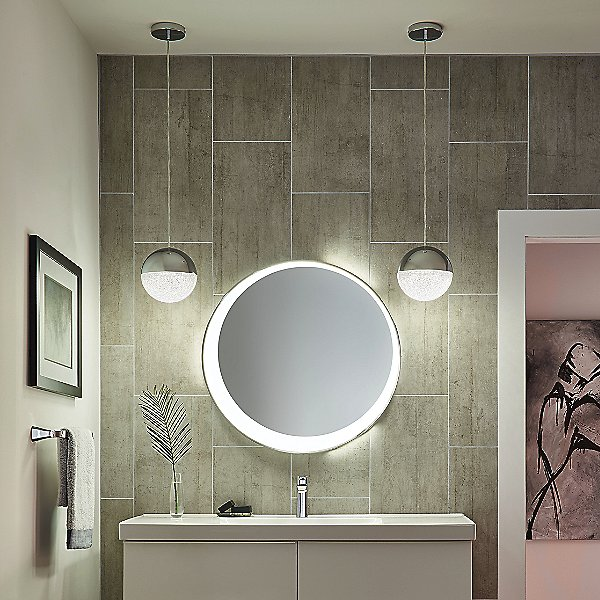 Offset Round LED Lighted Mirror