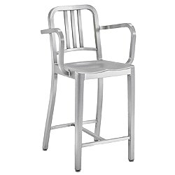 Navy Stool with Arms