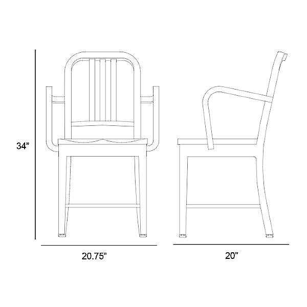 Navy Armchair, Wood Seat