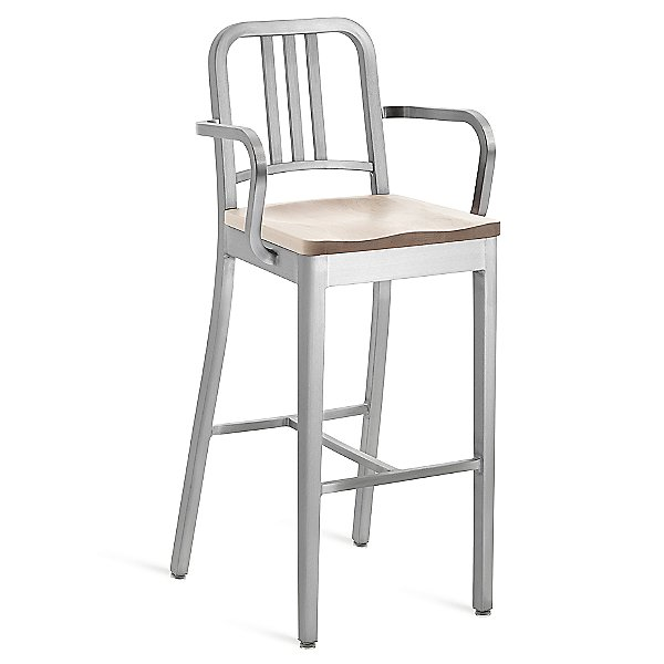 Navy Stool with Arms, Wood Seat