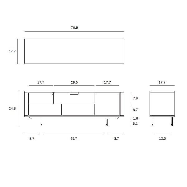 Oak Shadow TV Cupboard - 1 Door