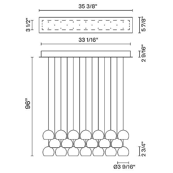Beluga Multispot 20-Light Rectangular Pendant Light