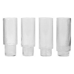 Ripple Long Drink Glasses Set of 4