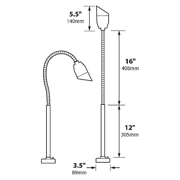 Angled Bullet LED BBQ Light with Flex Deck Base