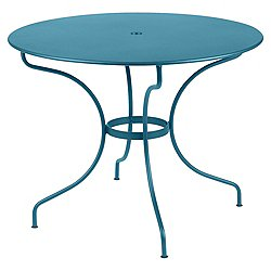 Opera Round Table (Turquoise Flat Satin/38 Inch) - OPEN BOX RETURN