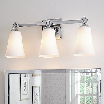 Chrome with White Opal Etched Shade color /  3 Light / illuminated