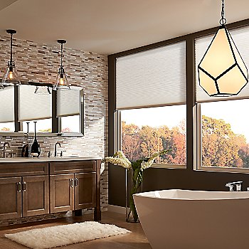 Oil Rubbed Bronze w/Hand Blown Opal Etched Glass finish, in use