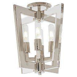 Crystal Chrome Semi-Flush Mount Ceiling Light