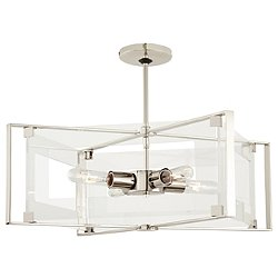 Crystal-Clear 4-Light Semi-Flush Mount Ceiling Light