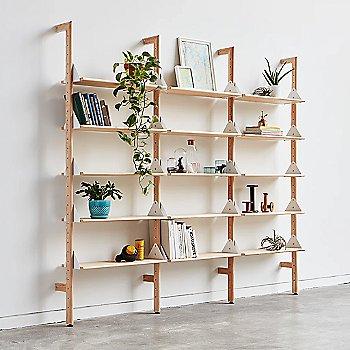 Blonde Uprights White Brackets Blonde Shelves finish / 3 Shelves