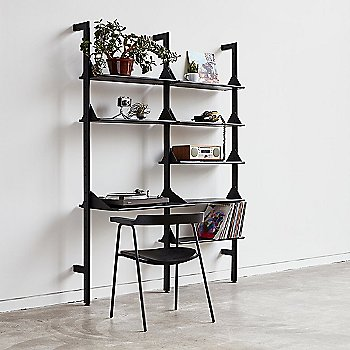 Shelving Unit with Desk Add On in Black