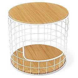 Wireframe End Table (White Powder Steel & Oak) - OPEN BOX