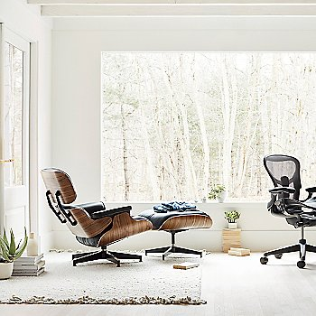 Eames Lounge Chair with Ottoman, Nelson X-Leg Table and Aeron Office Chair