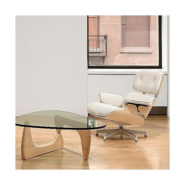 Eames Lounge Chair with Ottoman, White Ash