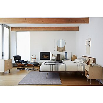 Eames Lounge Chair with Ottoman, Nelson 9-Drawer Miniature Chest and Nelson Thin Edge Bed, Metal Base