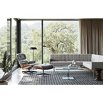 Eames Lounge Chair with Ottoman with Eames Walnut Stools, Ward Bennett I-Beam Coffee Table and Lispenard Sectional Sofa