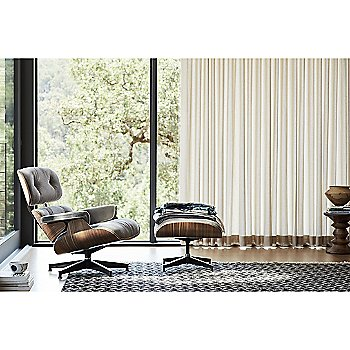 Eames Lounge Chair with Ottoman with Eames Walnut Stools
