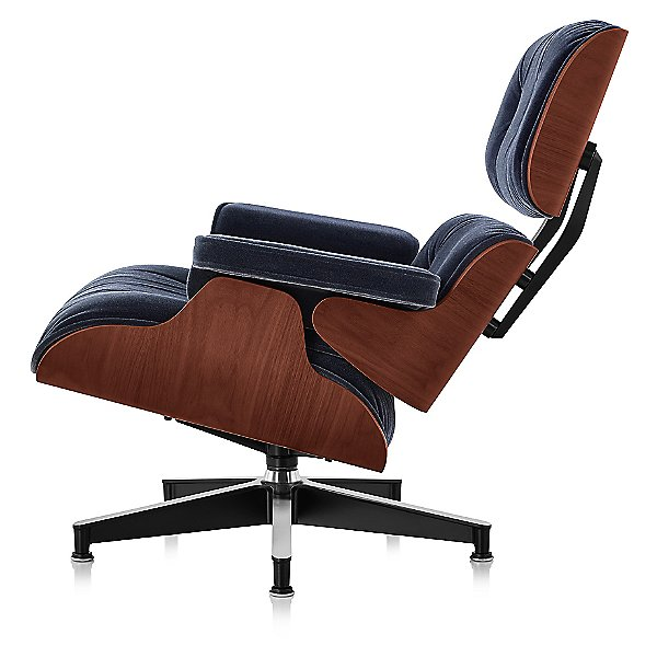 Eames Lounge Chair with Ottoman, Mohair Supreme