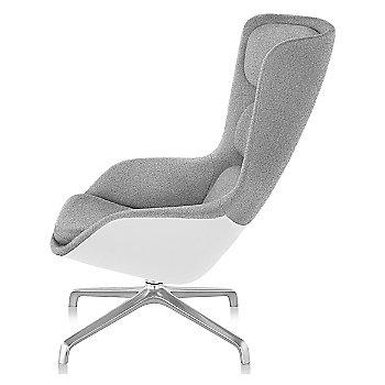 Shown in Heathered Grey fabric with White back finish and Polished Aluminum base finish