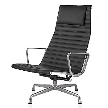 Polished Aluminum base finish, 2100 Leather: Black Material, with Headrest