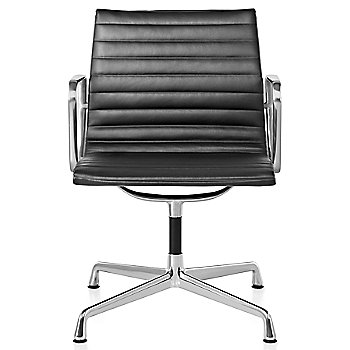 Shown in 2100 Leather Black with Polished Aluminum Base finish with Arms