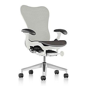 Slate Grey Fabric / Semi-Polished Base / Studio White Frame / Studio White/Slate Grey Latitude Back / Black Arm