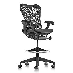 Mirra 2 Office Stool, Butterfly Back with Fixed Arms - Lumbar Support