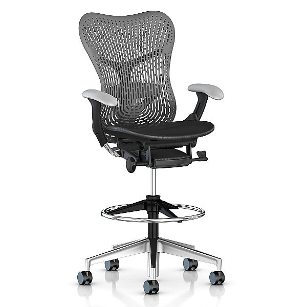 Mirra 2 Office Stool Triflex Back with Fixed Arms-Lumbar Support