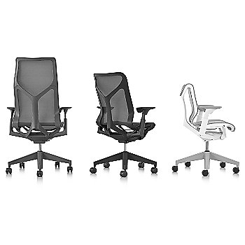 Shown with Cosm Low Back Chair with Height Adjustable Arms, Cosm Mid Back Chair with Height Adjustable Arms, Cosm High Back Chair with Height Adjustable Arms