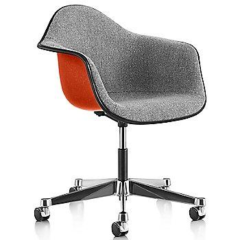 Black Edge finish / Chrome Caster finish / Red Orange frame / Crepe Slate Grey fabric