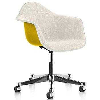 White Edge finish / Chrome Caster finish / Lemon Yellow frame / Parchment fabric