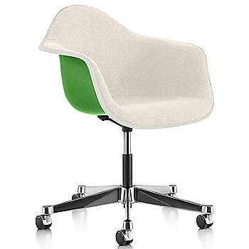 White Edge finish / Chrome Caster finish / Green frame / Parchment fabric
