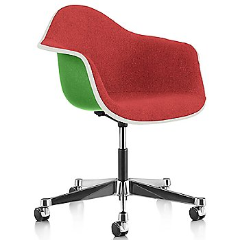 White Edge finish / Chrome Caster finish / Green frame / Hopsak Crimson fabric