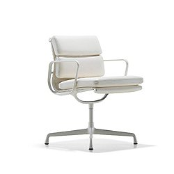 Eames Soft Pad Side Chair (White/2100 Leather: Ivory/With Arms / Swivel Base) - OPEN BOX RETURN