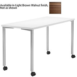 Everywhere Rectangular Table (Light Brown Walnut/Metallic Silver/48 in x 24 in/8655) - OPEN BOX RETURN
