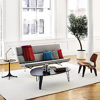 Noguchi Rudder Table with Eames Molded Plywood Lounge Chair with Wood Legs, Nelson End Table and Eames Sofa Compact
