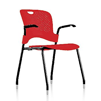 Metallic Silver Frame Finish /  Red Seat/Back Finish / Black Arm Finish