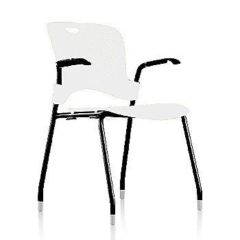 Metallic Silver Frame Finish /  Studio-White Seat/Back Finish / Black Arm Finish