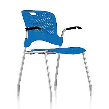 Metallic Silver Frame Finish /  Berry-Blue Seat/Back Finish / Black Arm Finish