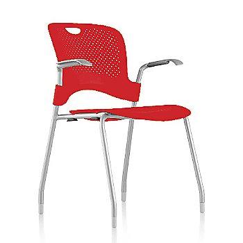 Metallic Silver Frame Finish /  Red Seat/Back Finish / Silver Grey arm finish