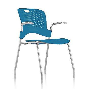 Metallic Silver Frame Finish /  Turquoise Seat/Back Finish / Fog arm finish