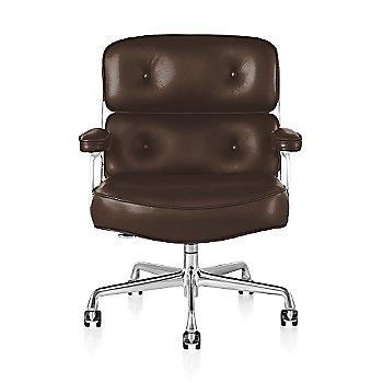 Polished Aluminum Base finish / White Frame finish / Open Line Leather: Chocolate