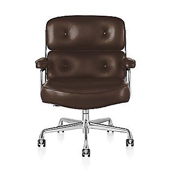 Polished Aluminum Base finish / Polished Aluminum Frame finish / Open Line Leather: Chocolate
