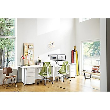 Eames Molded Plywood Lounge Chair with Wood Legs with Nelson Platform Bench and Sayl Basic Work Chair