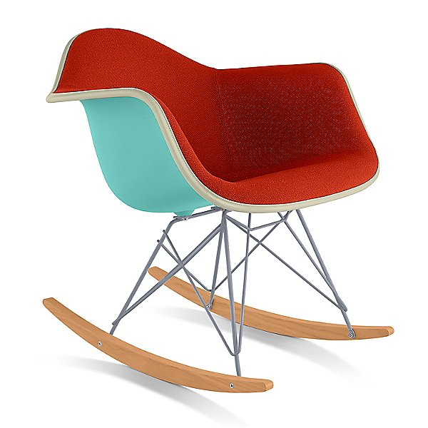 Eames Molded Plastic Armchair with Rocker Base, Upholstered